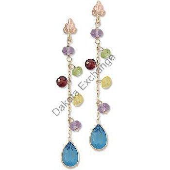 Black Hills Gold Genuine Gemstone Dangle Post Earrings
