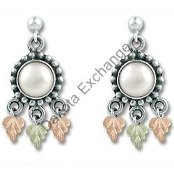 Black Hills Gold Antiqued Cultured Pearl Silver Earrings