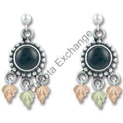Black Hills Gold Antiqued Black Onyx Silver Earrings