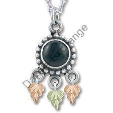 Black Hills Gold Antiqued Black Onyx Silver Necklace