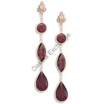 Black Hills Gold Leaf 3 Garnet Post Earrings