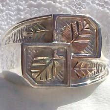 Black Hills Gold Ring Mens 4 Leaves On Silver Unusual