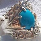 Black Hills Gold Ring Ladies Turquoise Oval Cabochon Silver