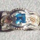 Black Hills Gold Ring Ladies Blue Topaz Sterling Silver