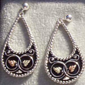 Black Hills Gold Earrings Antiqued Silver Teardrop