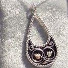 Black Hills Gold Necklace Antiqued Silver Teardrop