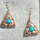 Black Hills Gold Earrings Turquoise Cabochon Triangle