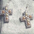Black Hills Gold Earrings 5 Leaf Silver Filigree Cross