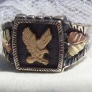 Black Hills Gold Ring Mens 10K Eagle Oxidized Silver