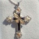 Black Hills Gold Necklace 10K Dove Silver Antiqued Cross