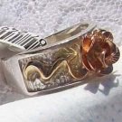 Black Hills Gold Ring Ladies Rose 10K Gold Vines Silver