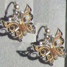 Black Hills Gold Earrings 10K Swirls Silver Butterfly
