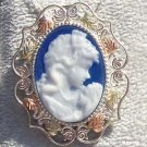 Black Hills Gold Penant Necklace Brooch Pour Blue Agate Cameo