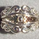 Black Hills Gold Ring Ladies 2 Leaf Open Silver