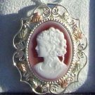 Black Hills Gold Pendant Necklace Brooch Poured Red Agate Cameo