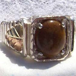Black Hills Gold Ring Mens Oval Tiger's Eye Square Silver