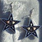 Black Hills Gold Earrings Antiqued Star Silver