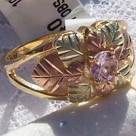 Black Hills Gold Ring Ladies Faceted Pink Ice CZ