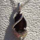 Black Hills Gold Necklace Facet Black Onyx Pear Silver