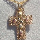Black Hills Gold Necklace 5 Leaf & 10K Filigree Cross