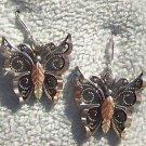 Black Hills Gold Earrings Oxidized Silver Butterfly