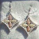 Black Hills Gold Earrings 4 Leaf Grape Fancy Cross
