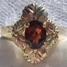Black Hills Gold Ring Ladies 6 Leaf & Oval Garnet