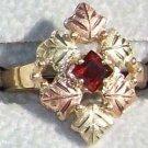 Black Hills Gold Ring Ladies 6 Leaf Square Garnet