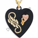 "Black Hills Gold Black Enamel 1 1/8"" Heart Necklace"
