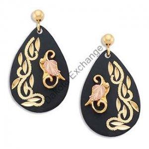 Black Hills Gold On Black Enamel Teardrop Earrings