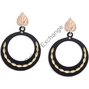 Black Hills Gold On Black Enamel Hoop Earrings