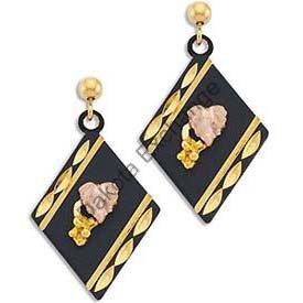 Black Hills Gold On Black Enamel Dressy Earrings
