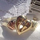 Black Hills Gold Ring Ladies Diamond 10K Heart Silver