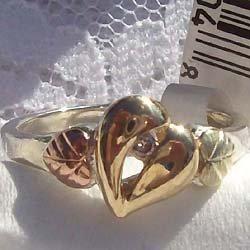 Black Hills Gold Ring Ladies Diamond 10K Heart Silver