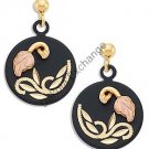 Black Hills Gold On Black Enamel Round Earrings