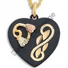 Black Hills Gold 2 Leaf Black Enamel Heart Necklace