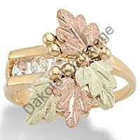 Black Hills Gold CZ Past Present Future Ladies Ring