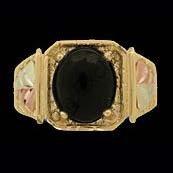 Black Hills Gold Ring Mens Black Onyx Cabochon Square