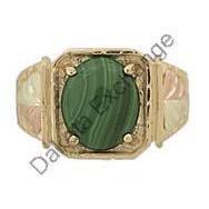 Black Hills Gold Ring Mens Malachite Cabochon
