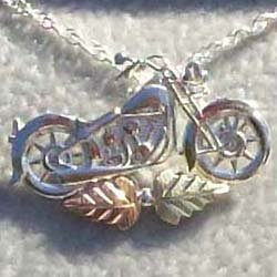 Black Hills Gold Pendant Necklace Silver Motorcycle