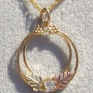 Black Hills Gold Necklace Leaves Hoops Cubic Zirconia