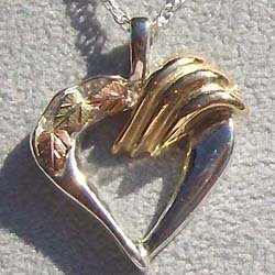 Black Hills Gold Necklace 10K Gold Ribbons Silver Heart