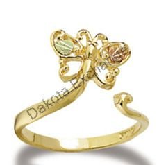 Black Hills Gold Butterfly Toe Ring