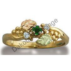 Black Hills Gold Diamond And Emerald Ladies Ring