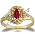 Black Hills Gold Genuine Marquise Ruby Ring