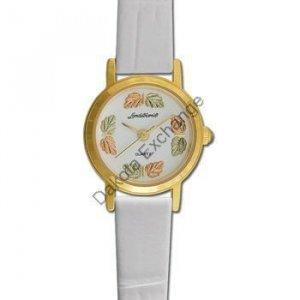 Black Hills Gold 8 Leaf White Leather Ladies Watch
