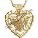 Black Hills Gold Rose Leaves & Heart Necklace