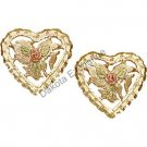 Black Hills Gold Roses Leaves & Heart Earrings