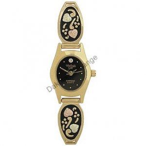 Black Hills Gold Watch Ladies Diamond Antiqued