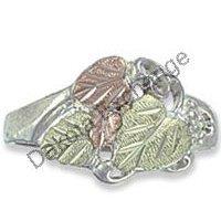 Black Hills Gold On Sterling Silver 4 Leaf Ladies Ring